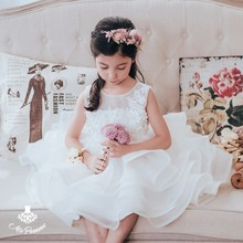 Lovely Style Pressed Flower White Girl Gown Cake Dress