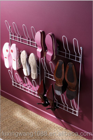 Hang Storage Closet Home Door Hanger 18 Pair Wire Shoe Rack Organizer Wall Mount