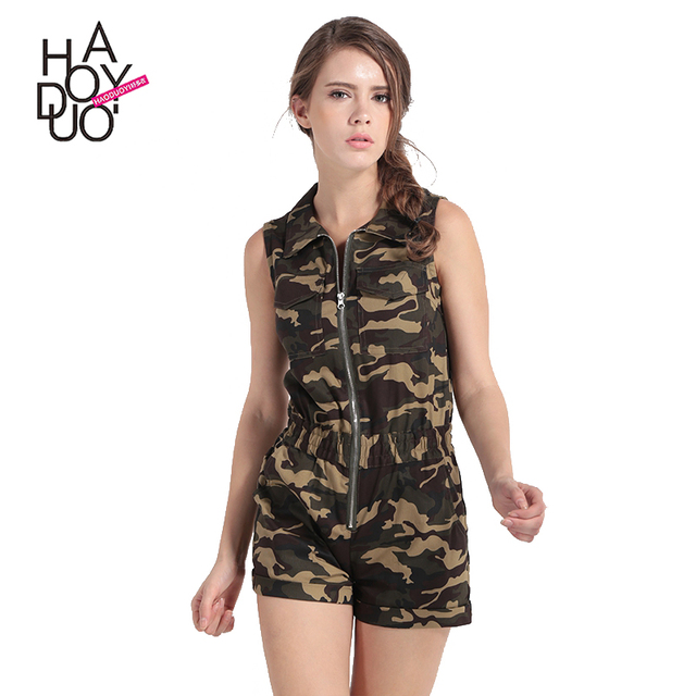 HAODUOYI Women Camouflage Print Short Jumpsuits Zippers Front Playsuits for Wholesale
