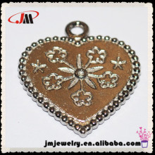 flower heart shape copper metal pendants ,jewelry for diy making,accessory jewelry for bracelet,pendant and so on,wholesale