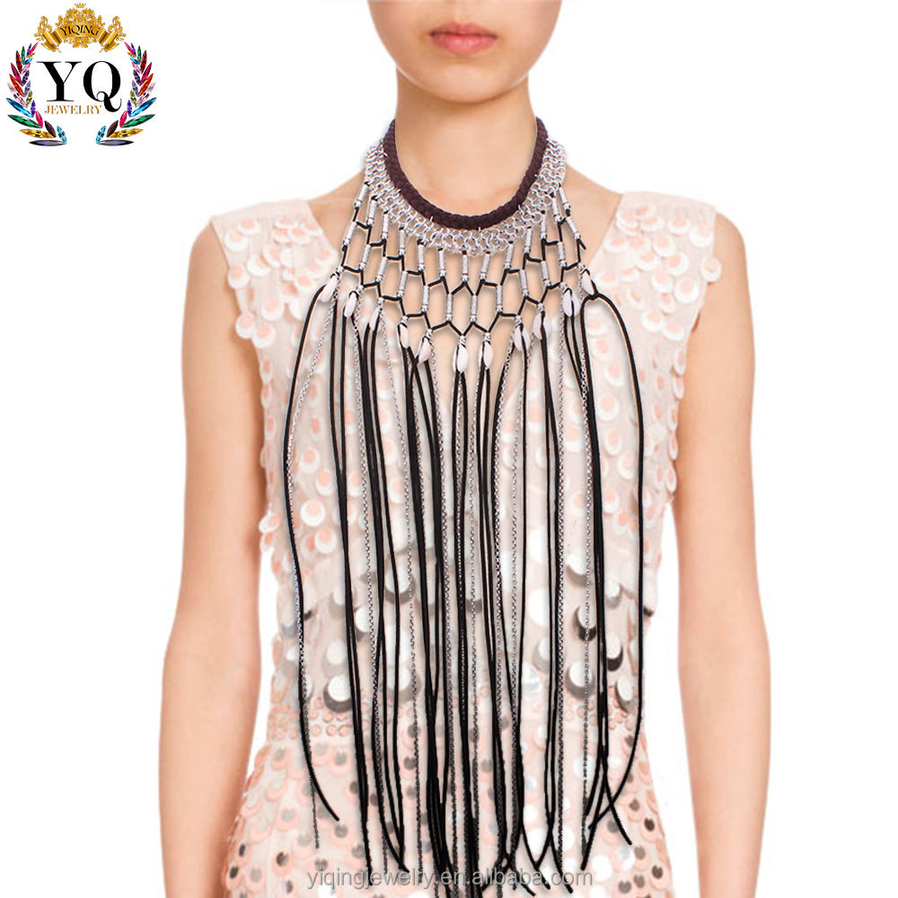 NYQ-00174 fashion bohemian design long tassel natural shell necklace for women and girls
