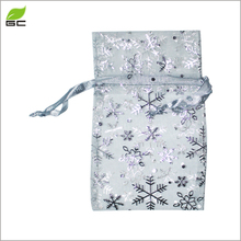 2017 hot sale cheap Drawstring Christmas Wedding Candy Gift Bags snow Organza Bags for Jewelry Packaging