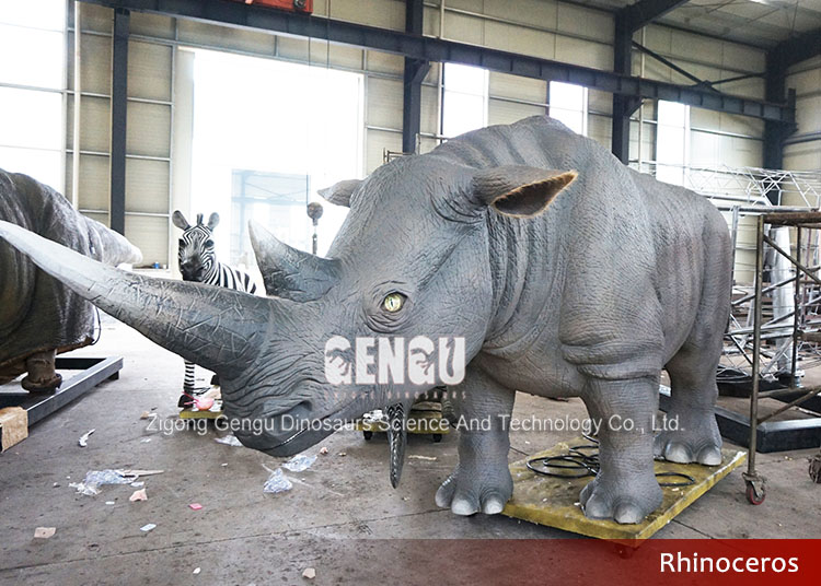 Outdoor amusement park high quality animatronic rhinoceros