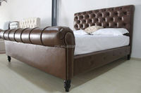 Latest design royal style headboard and foot board leather bed