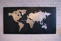 modern wall deco craft metal world map wall art sculpture