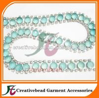 resin and acrylic roll meatl welded rhinestone cup chain trimming for bridal wedding dress