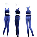 Womens sexy spandex fitness sport clothes set