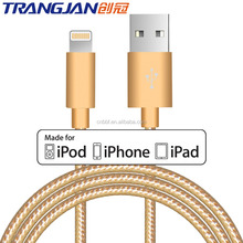 TRANGJAN Nylon Braided Cord Cable For Apple MFi Certified to USB Charging Charger for iPhone 8 7,7 Plus,6S,6 Plus,iPad,iPod