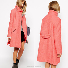 Wholesale winter clothes Swing Coat With Funnel Neck woman Wool coat