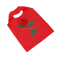 2016 Hot Sale Polyester Foldable Rose Flower Shopping Bags