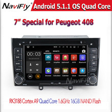 1024*600 Capacitive Screen Car DVD Player for Peugeot 408 BT Wifi Support 3G wifi DVR OBD Android 5.1.1 Quad Core