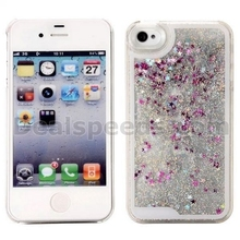 Bling Dynamic Glitter Quicksand & Stars Liquid PC Back Case for iPhone 4S 4