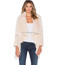YR190 Top Quality Geunine Rabbit Hand knit Fur Coat Cropped Long Sleeve Bolero Fur Jacket