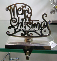 crystal decorations Merry christmas metal holiday stocking holders