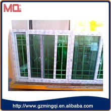 Stained glass uPVC sliding window design,horizontal sliding window track with plastic grille,uPVC sliding grids window and door