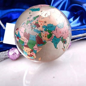 High quality Popular Colored Map K9 Glass Crystal World globe ball paperweight