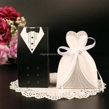 Bride and Groom Candy Bag Wedding Candy Box Wedding Favor White Black Paper Gift Box
