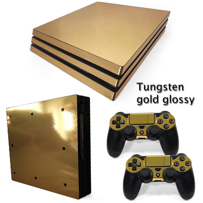 Luxury Glossy gold skin for PS4 Pro high quality decal protective sticker custom