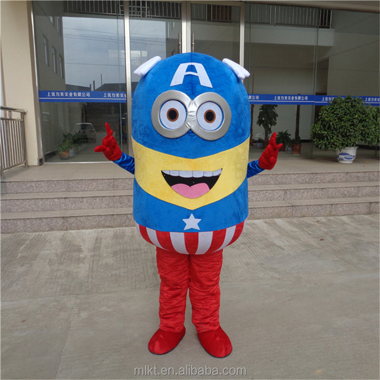 Factory direct sales cartoon character mascot costume adult American captain minion mascot costume