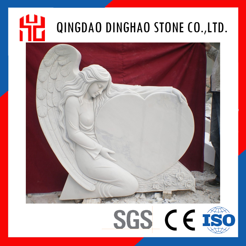 American White Marble Stone Weeping Angel Tombstone
