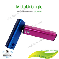 Standard Triangle Metal Case Mobile Power Bank 2200mah portable battery banks