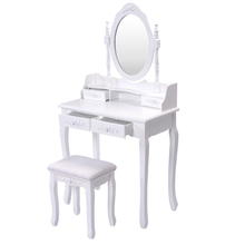 Bedroom set wooden dressing table with mirror and stool