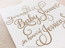 Unique Script Baby Birth Announcement , Calligraphy Letterpress Baby Announcement Invitation