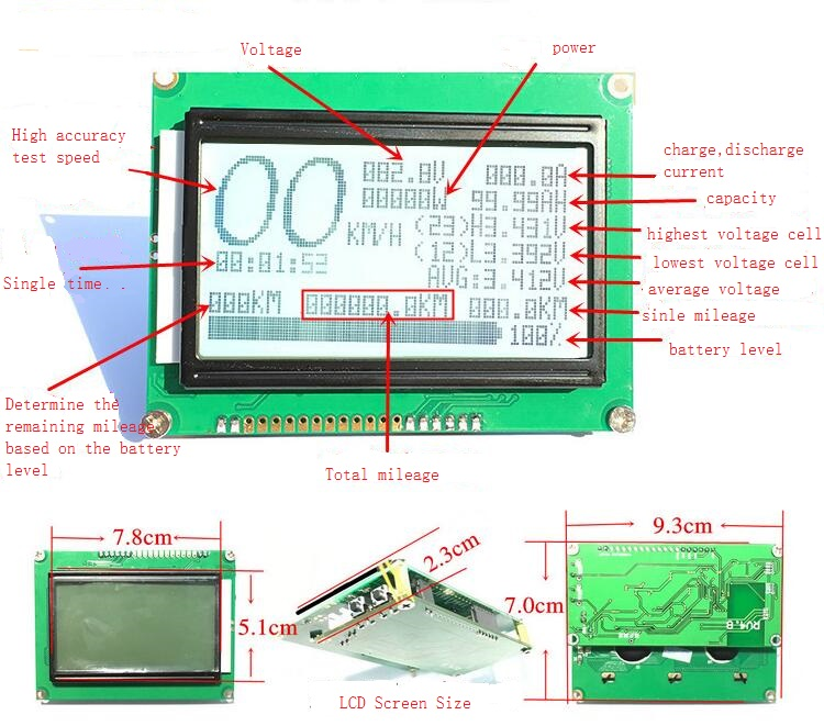 70A 100A 150A 200A 300A 8S 12S 24S Lifepo4 Lipo Li-ion LTO Smart Display Battery BMS With Balance  Coulomb Meter APP Bluetooth