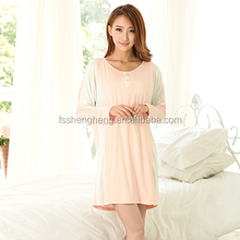 popular pink cotton long sleeve night gown for pregnant women breast feed baby pajamas sleep wear blue house wear AK163