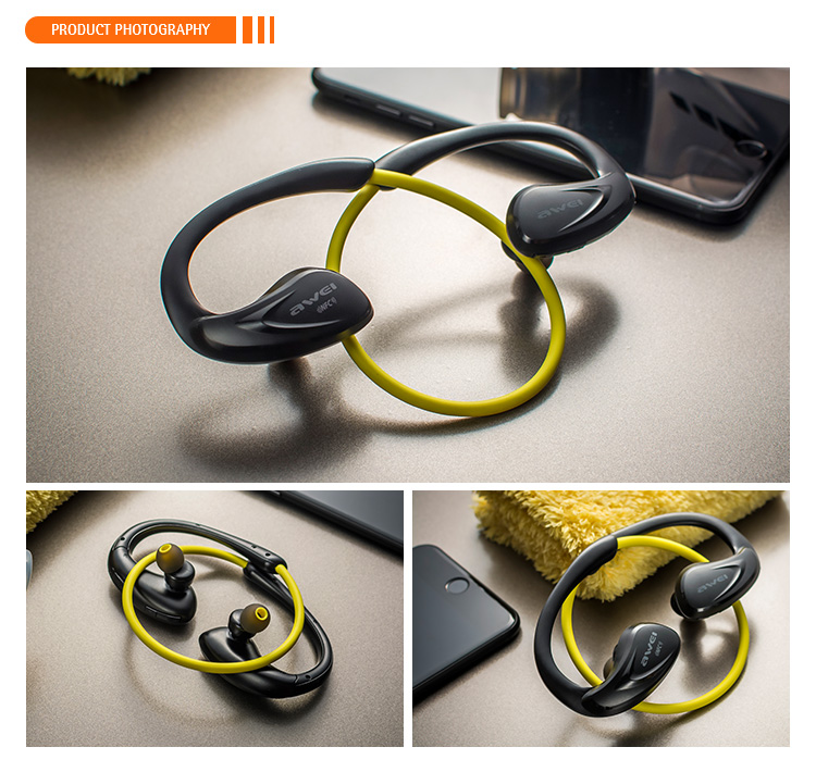 AWEI Voice Command 2017 Hot selling Earpiece Ear-hook APTX Bluetooth Neckband Headset From China Directly