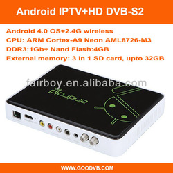 Supply OEM/SKD Factory Popular Android HD IPTV DVB-S2 box combo receiver with biss+cccam/newcam Network sharing