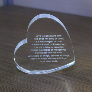 Heart shaped crystal glass lover gift
