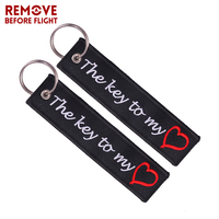 The Key to My Heart Key Ring Chain Bijoux Keychain for Cars Gifts Key Tag Embroidery Motorcycles Fashion Keychain