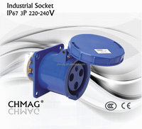 Chmag industrial plug and socket female angle socket 63A 125A 220-240v 3Pin IP67 industrial waterproof panel socket 333 343