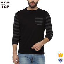 Online shopping full sleeve tshirt with striped sleeves and pocket t-shirts 100% cotton
