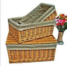 Fashion Cream-coloured Easter Wicker Basket With Liner&Handle
