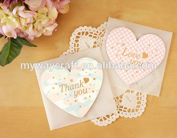high quality best regards heart shaped flowery greeting cards with vegetable parchment envelope