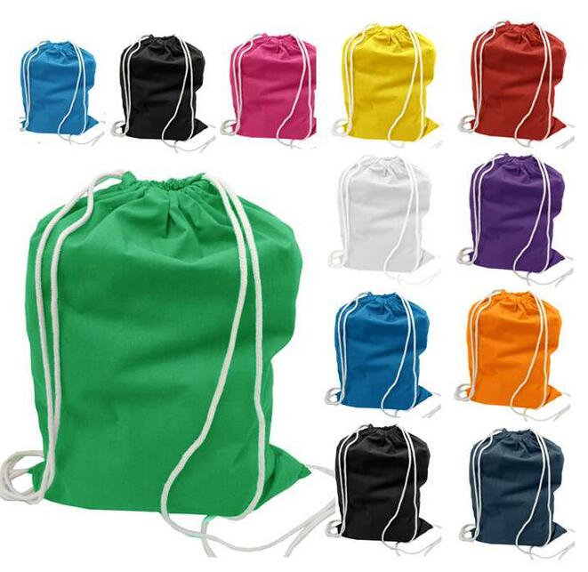full color printed organic cotton canvas drawstring bag with logo
