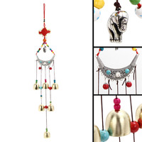 LS4G Lucky Elephant Wind Chimes Copper 6 Bells Chinese Knot Beads Windbell Noisemaker Feng Shui Home Decor