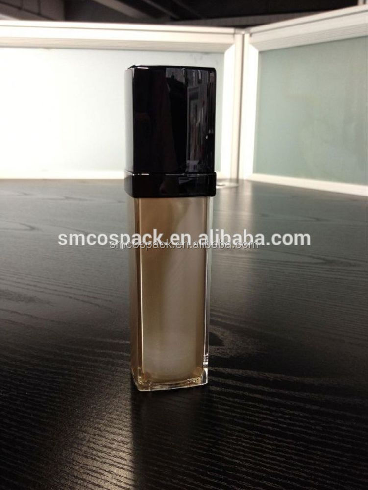 European style 35ml glossy black luxurious foundation skincare airless bottle