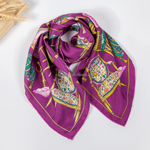 Fashionable square head wrap luxury woman silk neck scarf large twill scarf
