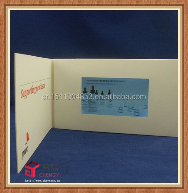 "newest 7.0 ""ft lcd video brochure greeting card/magzine insert with lcd"