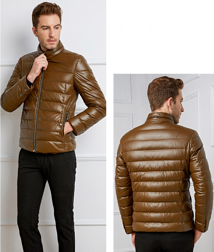 High Quality Men's PU Down Jacket Warm Leather Jacket Hot Sale Clothing