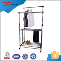 Home or store decorative chromed iron double folding clothes rack