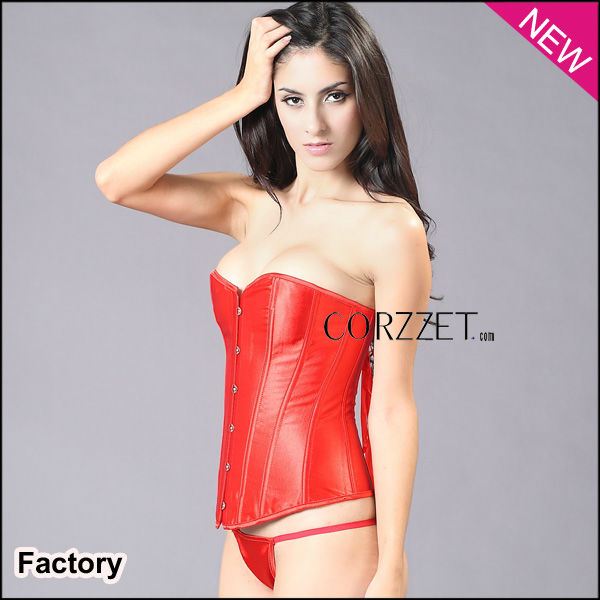 women metal busk red satin fashion corset pour homme