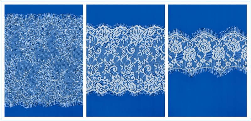 Narrow nylon spandex stretch/elastic lace fabric, irregular double scalloped underwear lace fabrics