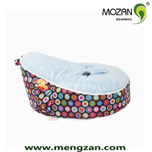 Soft velvet baby bean bag chair with harness