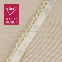 2015 Beautiful Fashion white webbing beaded pearl lace trim
