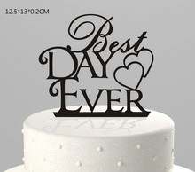 Wholesale acrylic wedding cake topper plastic cake topper with laser cut letters