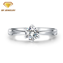 wholesale high quality 18 platinum plated finger ring 925 silver ring wedding bridal diamond ring